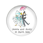 20 Custom wedding favour large fridge magnet -  Retro Bride and Groom