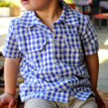 boys shirt - size 5 - lilac purple gingham seersucker cargo shirt  READY TO SHIP