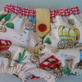 Boys bloomers - wagons, red, yellow, gingham, baby boy, gift