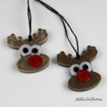 Rudolph SMALL x2 pack Buttons - Christmas Decoration - Resin - Button - Hanging