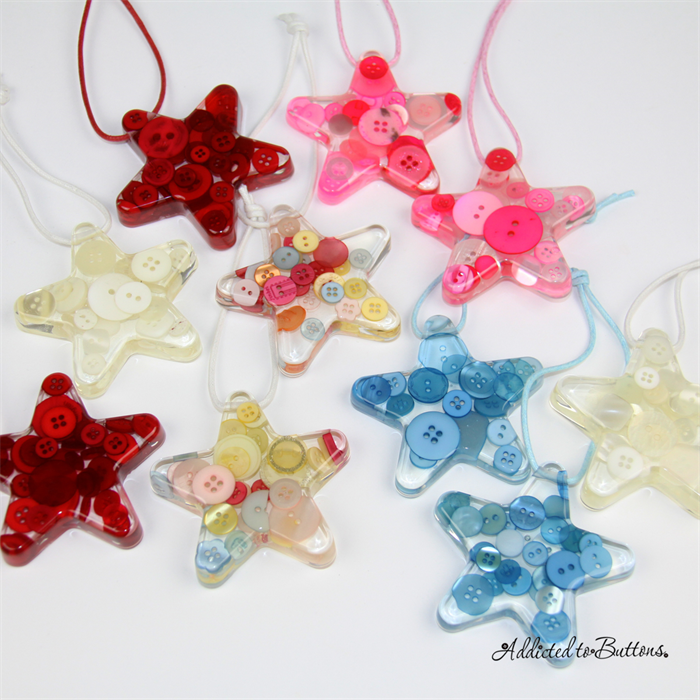 Christmas Button Star + Tree - Citrus - Button Resin Christmas ...