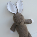 Soft Brown Hand Knitted Bunny Rabbit with Cute Big Ears