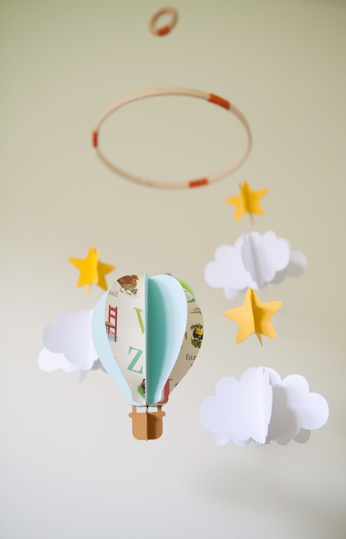 Hot Air Balloons And Clouds 3d Paper Baby Mobile Kisshug