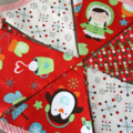 Christmas bunting with little penguin, red polka dots, festive party decoration