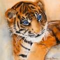 "Baby Tiger, Tiger Cub - PRINT, Watercolour painting, 8""x8"" Kids prints, Nursery,"