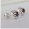 Almandine Garnet & Sterling Silver Crown Detail Studs (8mm)