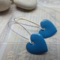 Cute Aqua Heart Earrings