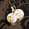 Vintage Bird Silver Resin Earrings ~ 16mm