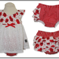 SIZE  1 - Red Roses Ruffle Bum SET