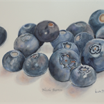 "Blueberries - Watercolour Painting PRINT - Paintings Prints 10""x 8"""