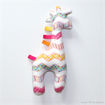 Giraffe Tag Toy Rattle Pink Chevron