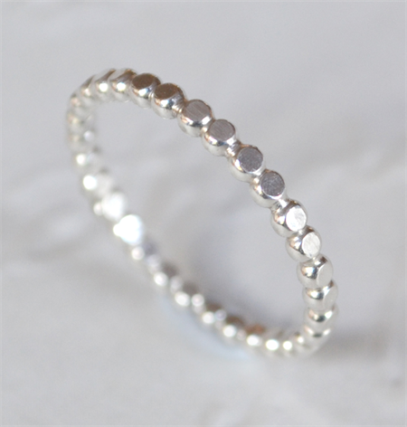 Sterling Silver smooth flattened beaded stacking ring - made to your size