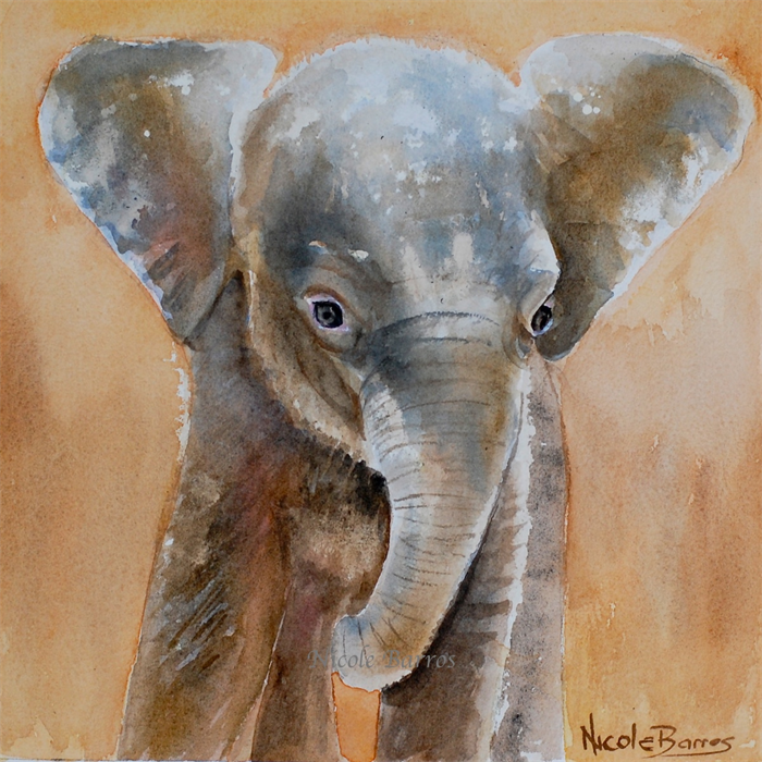 Baby Elephant Wall Art Print Watercolour Painting 8x8 Kids Prints Nursery