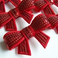 Christmas -Luxe RED sequinned bow on red elastic headband.