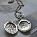 Hand Stamped Locket Silver Ox Floral Locket Wife Gift Mother Gift