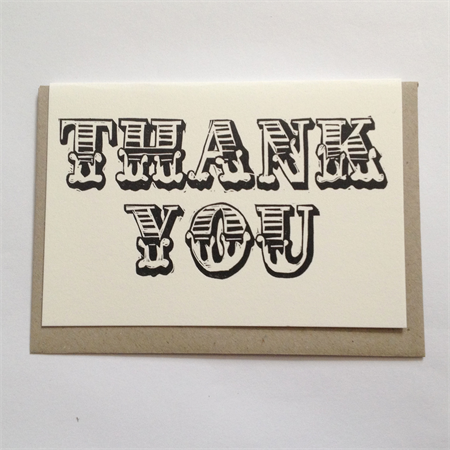 Linocut letterpress Thank you greeting cards pk of 10