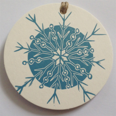 blue snowflake Christmas tags pack of 5