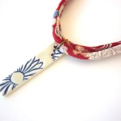 Haru Japanese Kimono style fabric and ceramic pendant Necklace