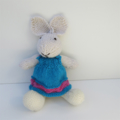 *On Sale* Lucy the Knitted Bunny Toy with lovely Teal Blue Party Dress