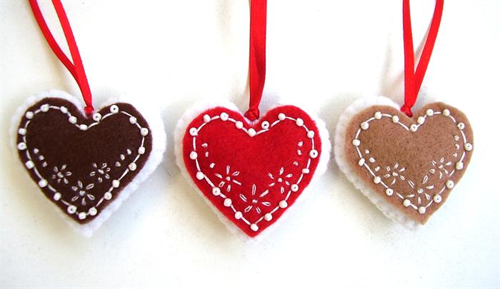 Christmas Heart Decoration.Felt Hearts Gingerbread Heart Christmas Ornament