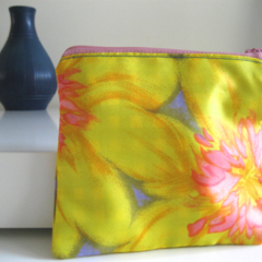 Yellow, pink and mauve zippered coin purse