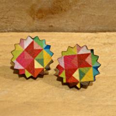 Laser Cut Geo Wooden Earrings