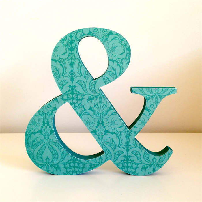 Wooden freestanding ampersand and symbol sign typography for Ampersand decor