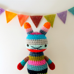 stockton .. children rabbit toy, crochet amigurumi doll, bright colorful rainbow