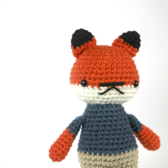 pierce .. plush fox boy toy, animal stuffed plushie, crochet amigurumi