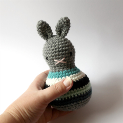 roly poly rabbit in marine .. baby toddler rattle toy bunny rabbit
