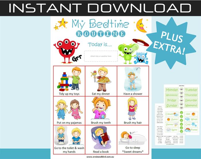 Printable Digital Download Bedtime Routine Chart Plus