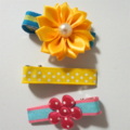 3pk yellow, blue, green and pink flowers, stripes and polka dot hair clips