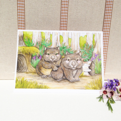 Wombats Blank greeting card, australian animal card 5x7 folded art card