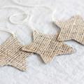Set of 3 Hessian Stars Whitewashed Decoration or Gift Tag FREE POSTAGE