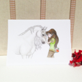 Blank greeting card, horse and girl, best friends 5x7 folded art card