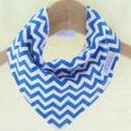 ROYAL Blue CHEVRON Super-Absorbent 3-Layered bandana bib with Waterproof backing