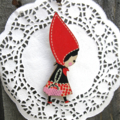 The Girl in the Red Hat Wooden Brooch