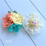 Fleur Floral Hair Clip Set - Yellow & Aqua