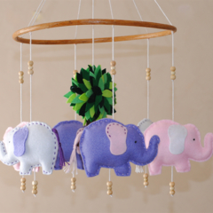 Made-to-order ~ Elephant mobile - PInk and Purple