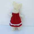 Holly the Knitted Christmas Bunny Toy with lovely Red Party