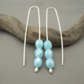 Powder Blue Faceted Czech Glass and Sterling Silver Dangle Earrings