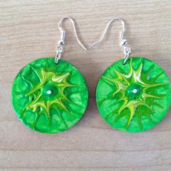 Lime green summer - hand painted bright neon wooden original art earrings ooak
