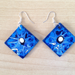 Girls who love blue - hand painted wooden original art earrings shabby chic boho
