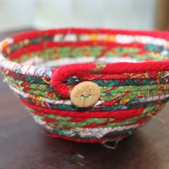Christmas Coiled fabric basket
