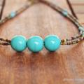 Boho Necklace, Bohemian Necklace, Rustic Necklace, Turquoise Double Necklace