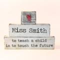 Personalised Shabby Style Teacher Appreciation Word Block Set
