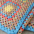 Crochet blanket, blue, yellow, red, acrylic yarn