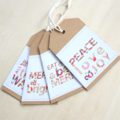 Recycled Kraft Gift Tags x 4, Christmas, Modern, Large size