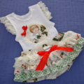 FUNKYNIKS, RUFFLED NAPPY COVER & SINGLET SET, IN CHRISTMAS CHRUBS  STYLE, sz 0