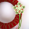 MADE TO ORDER Christmas wreath RED green yarn fabric flower